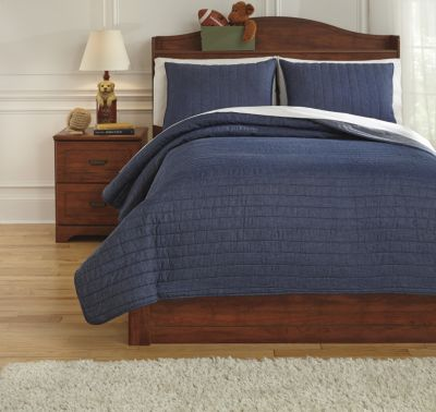 Ashley Capella Denim 3-Piece Full Quilt Set