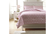 Ashley Loomis Pink 3-Piece Full Comforter Set