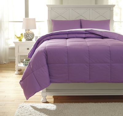 Ashley Plainfield Purple 3-Piece Full Comforter Set