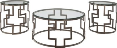 Ashley Frostine Coffee Table & 2 End Tables