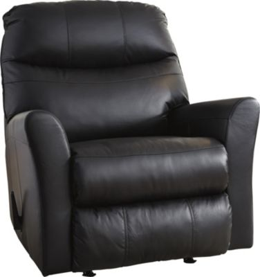 Ashley Pranav Black Leather Rocker Recliner
