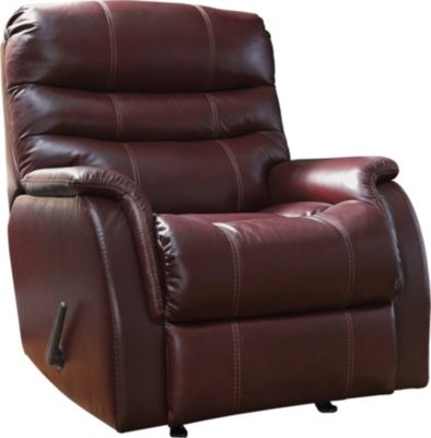 Ashley Bridger Red Leather Power Rocker Recliner