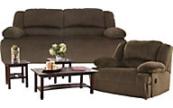 Ashley Reclining Sofa, Recliner & 3 Piece Table Set