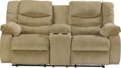 Ashley Garek Tan Reclining Loveseat with Console
