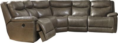 Ashley Zaiden 5-Piece Leather Power Sectional