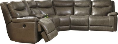 Ashley Zaiden 6-Piece Leather Reclining Sectional