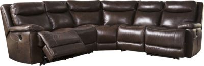 Ashley Zaiden Brown 5-Piece Leather Power Sectional