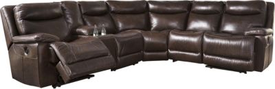 Ashley Zaiden Brown 6-Piece Leather Power Sectional