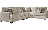 Ashley Ameer Cream Left-Side Sofa 3-Piece Sectional