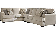 Ashley Ameer Cream Right-Side Sofa 3-Piece Sectional