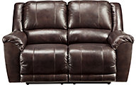 Ashley Yancy Brown Leather Power Reclining Loveseat