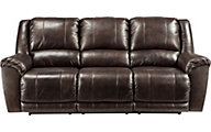 Ashley Yancy Brown Leather Power Reclining Sofa