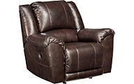 Ashley Yancy Brown Leather Power Rocker Recliner