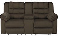 Ashley Mort Brown Reclining Loveseat with Console
