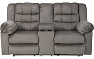 Ashley Mort Gray Reclining Loveseat with Console