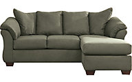 Ashley Darcy Green Full Chaise Sleeper Sofa