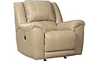 Ashley Yancy Tan Leather Rocker Recliner