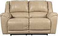 Ashley Yancy Tan Leather Reclining Loveseat