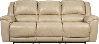 Ashley Yancy Tan Leather Power Reclining Sofa