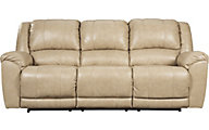 Ashley Yancy Tan Leather Reclining Sofa