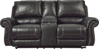 Ashley Milhaven Black Reclining Loveseat with Console