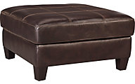 Ashley O'Kean Brown Leather Oversized Ottoman