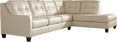 Ashley O'Kean Cream Left-Side Sofa 2-Piece Sectional
