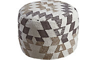 Ashley Abraham White and Brown Pouf