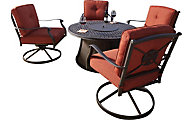 Ashley Burnella Outdoor Fire Pit & 4 Swivel Lounge Chairs