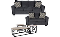 Ashley Sofa, Loveseat & Jofran 3-Piece Table Set