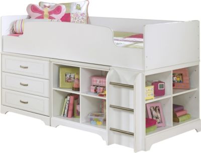 Ashley Lulu Twin Loft Bed With Dresser Amp Bookcase Homemakers Furniture