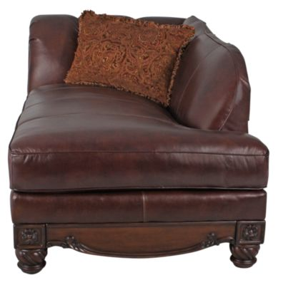 Ashley North Shore 100% Leather and Carved Wood Chaise