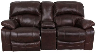 Ashley Damacio Leather Power Recliner Loveseat w/Console