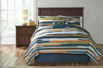 Ashley Seventy Stripe 6-Piece Full Comforter Set
