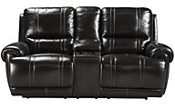 Ashley Paron Leather Reclining Loveseat with Console