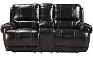 Ashley Paron Leather Power Reclining Loveseat w/Console