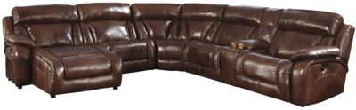 Ashley Elemen 6 Piece Leather Reclining Sectional