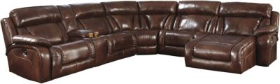 Ashley Elemen 6 Piece Leather Power Reclining Sectional