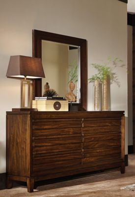 Aspen Walnut Park Dresser with Mirror