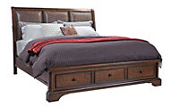 Aspen Bancroft Queen Bonded Leather Sleigh Storage Bed