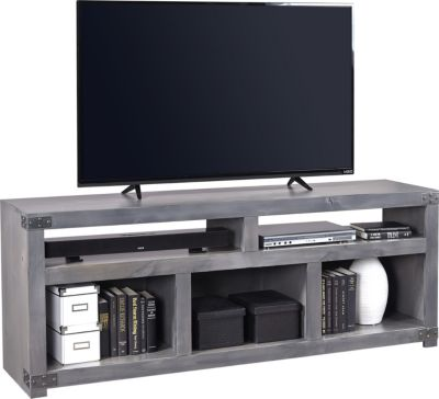 Aspen Urban Farmhouse 72-Inch Open Gray TV Stand