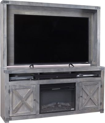 Aspen Urban Farmhouse 72-Inch Gray Fireplace Center
