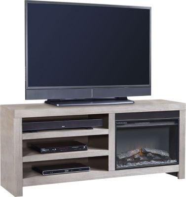 Aspen Contemporary Driftwood 65-Inch Fireplace TV Stand