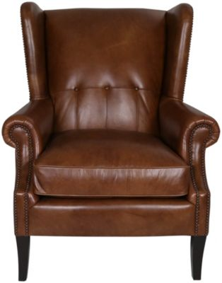 Bernhardt Jeremy 100% Leather Wing Chair