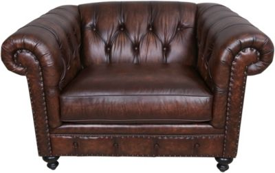 Bernhardt London Club 100% Leather Chair & 1/2
