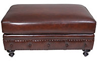 Bernhardt London Club 100% Leather Ottoman