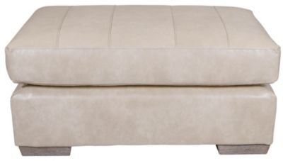 Best Chair Millport Cream Leather Ottoman