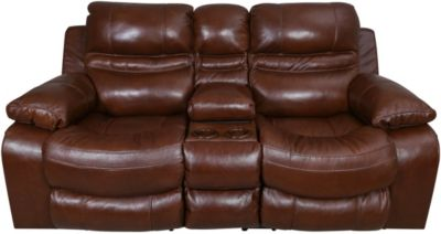 Catnapper Patton Leather Lay-Flat Loveseat with Console