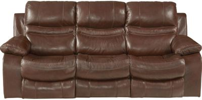 Catnapper Patton Leather Reclining Lay-Flat Sofa