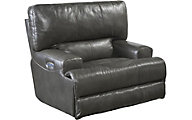 Catnapper Wembley Gray Leather Power Lay-Flat Recliner